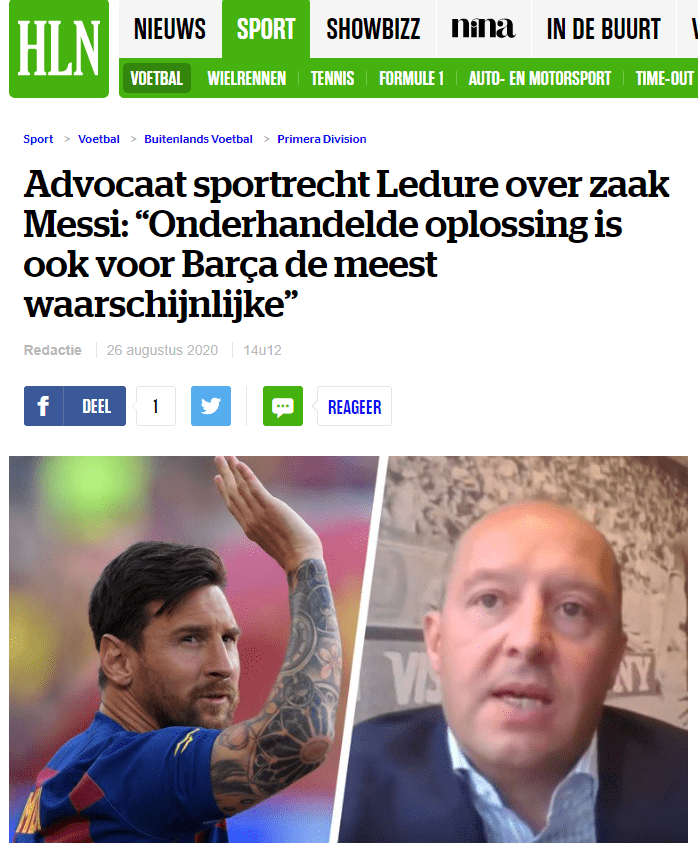 Sébastien Ledure in VTM NIEUWS and HLN.be on the legal side of Leo Messi's potential departure from FC Barcelona